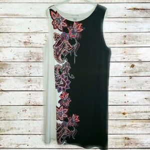 Black and White Sleeveless Dress with Floral